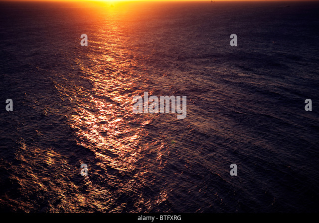 Sunset over sea - Stock Image