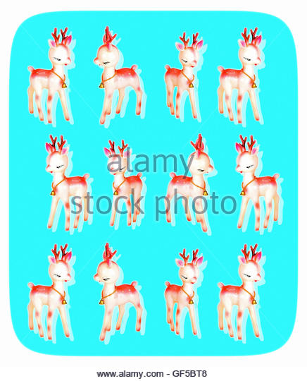 Vintage Christmas baby deer retro repeat with dotscreen overlay - Stock Image