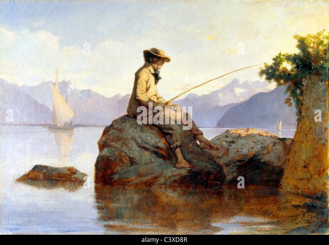 Oil painting of a man fishing, by Franþois Louis David Bocion. Switzerland, 19th century - Stock-Bilder