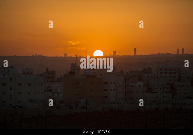 Sunset over Amman, Jordan. - Stock Image