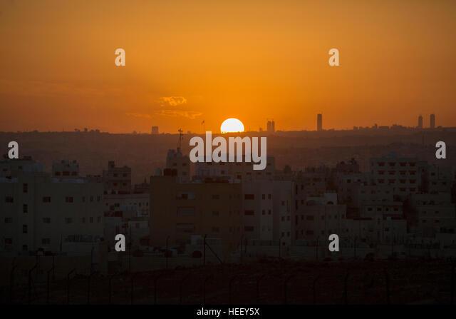 Sunset over Amman, Jordan. - Stock Image
