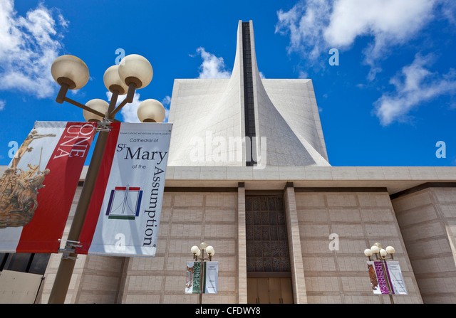 St. Mary's cathedral (The Cathedral of St. Mary of the Assumption), a Catholic cathedral, San Francisco, California, - Stock-Bilder