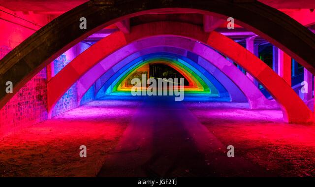 King William bridge underpass illumination in Adelaide city - Stock Image
