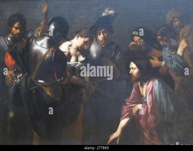 Christ and the Adulteress by Valentin de Boulogne, Getty Center - Stock Image