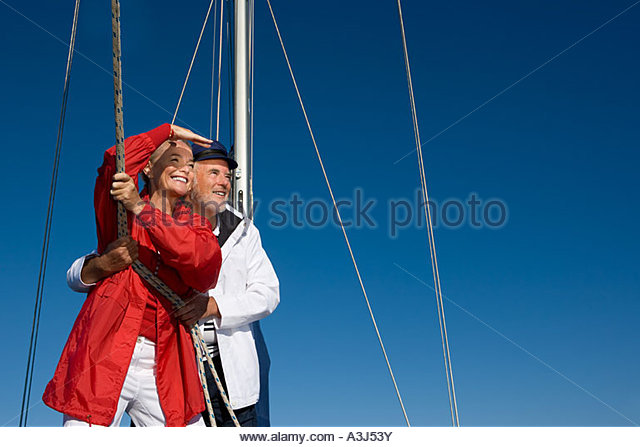 Couple sailing - Stock Image