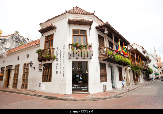 Spanish colonial architecture, Cartagena de Indias, Colombia. - Stock Image