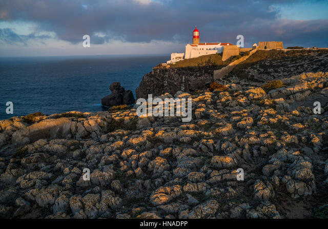 Cabo de Sao Vicente Lighthouse, Portugal Europe's Southwesternmost point, Rebuilt in 1846 - Stock-Bilder