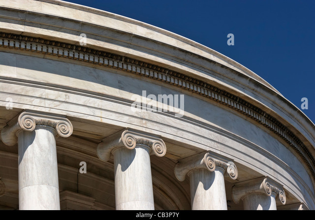 The columns and ionic capitals of the Jefferson Memorial, Washington, DC. - Stock Image