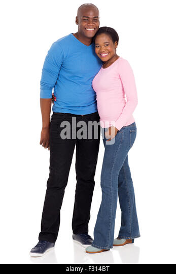portrait of cute young afro American married couple isolated on white - Stock Image