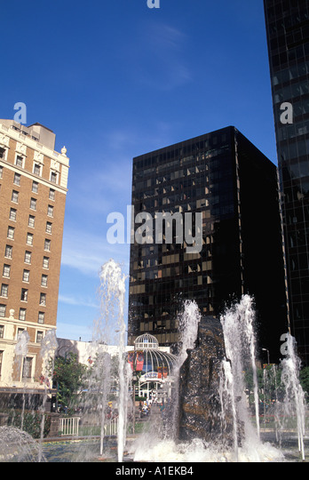 Vancouver Canada Fountain Downtown and Skyline - Stock Image