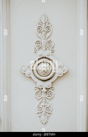 Lion head door decoration close-up - Stock Image