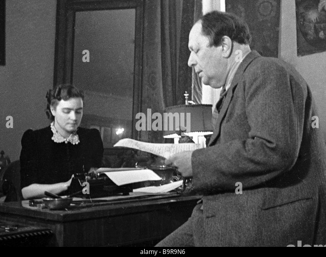 Writer Alexei Tolstoy and his wife Lyudmila in the study - Stock Image