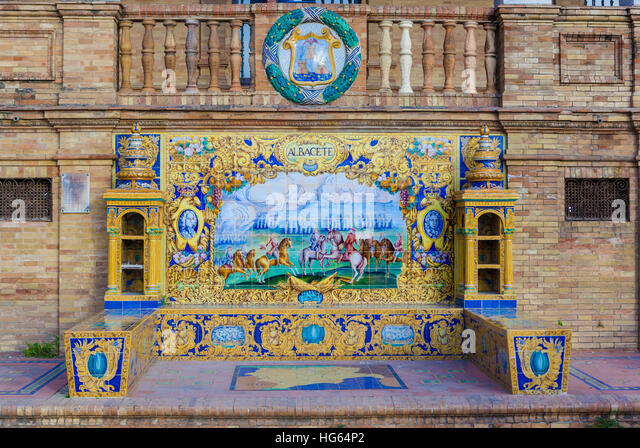 Glazed tiles bench of spanish province of Albacete at Plaza de Espana, Seville, Spain - Stock Image
