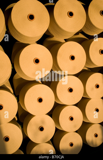 India Indore , Mahima Fibres Ltd. spinning mill produce cotton yarn from organic and fair trade cotton - Stock Image