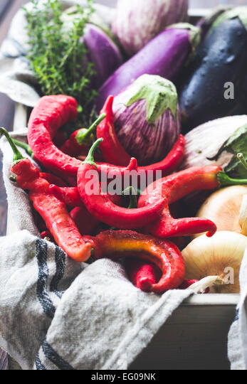 Summer vegetables in a crate - Stock Image