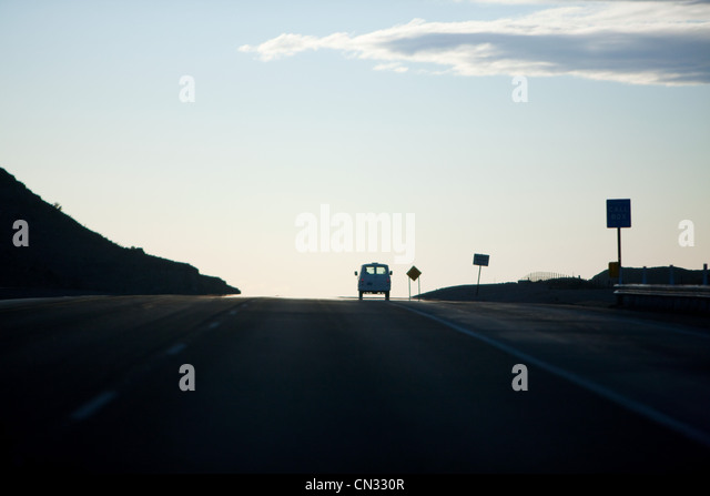 Camper van on highway - Stock Image