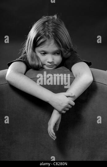 Portrait of an eight-year-old girl - Stock Image