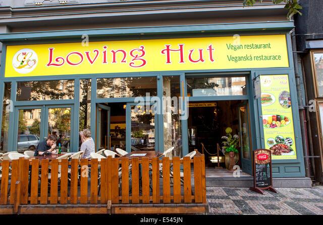 Wenceslas Square. Loving Hut, vegan restaurant - Stock Image
