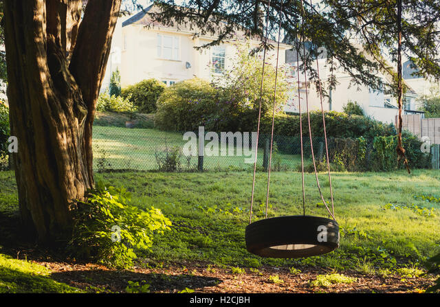 Early morning sun on a garden with a tyre swing, - Stock Image
