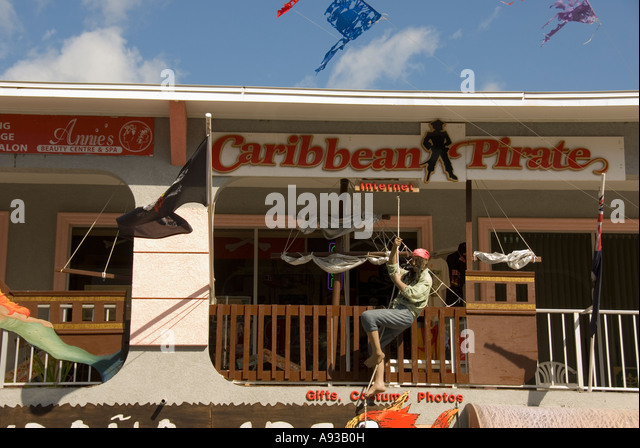 George Town Grand Cayman stores bar internet - Stock Image