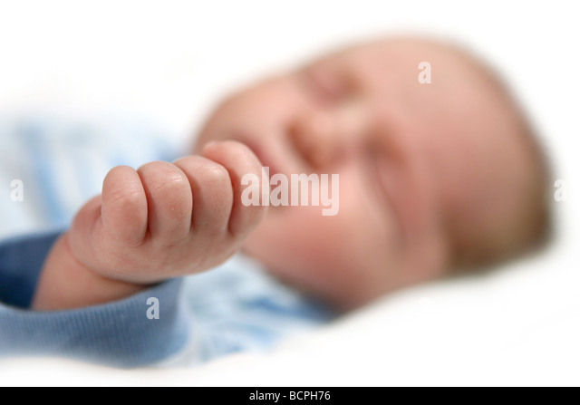 Extreme Depth of Field Image of a Baby Boys Hand - Stock Image