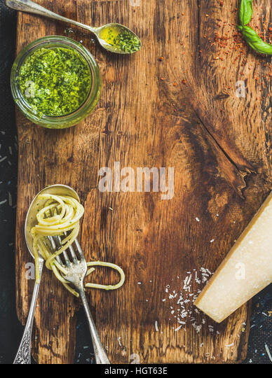 Italian cuisine cooking background, rustic wooden board texture - Stock Image