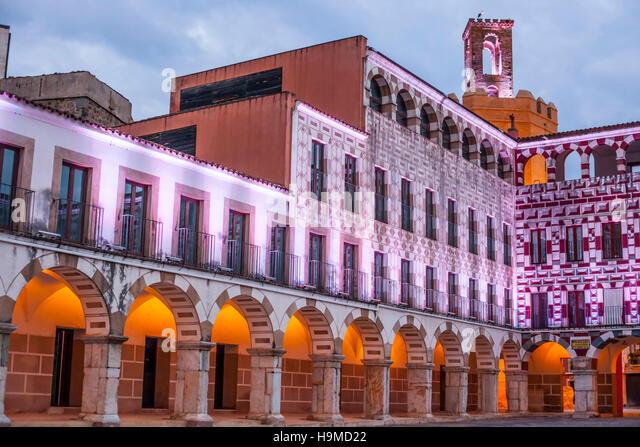 High square at sunset illuminated by led lights, Badajoz, Spain (Plaza Alta) - Stock Image
