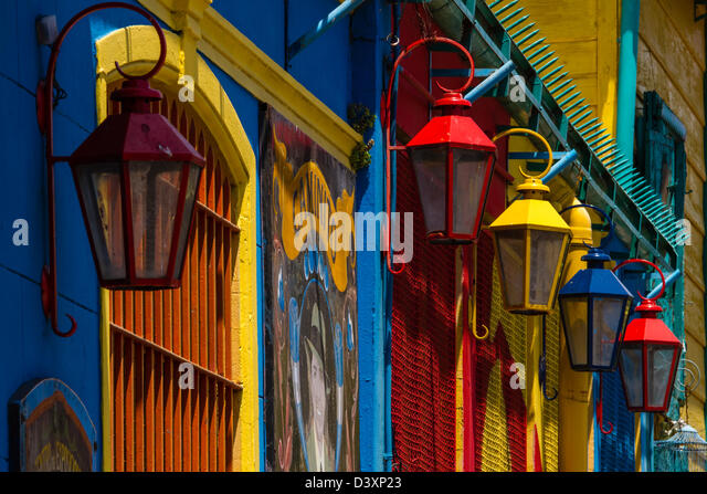 Colourful street lights and painted walls in bright La Boca, Buenos Aires, Argentina - Stock Image