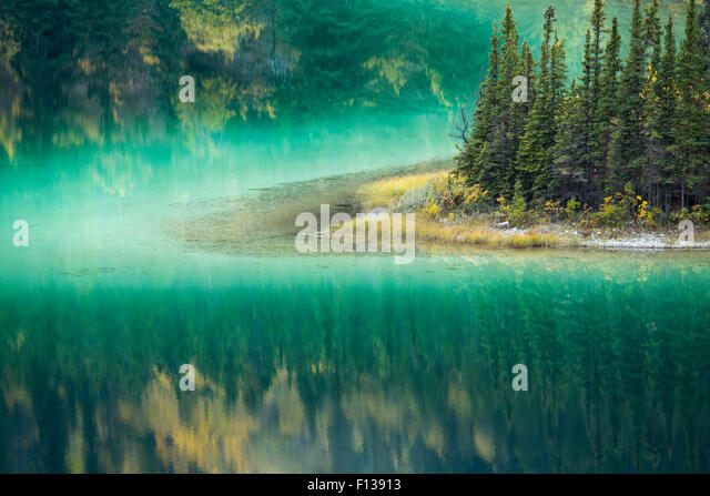Green waters of Emerald Lake, near Carcross, Yukon Territories, Canada, September 2013. - Stock Image