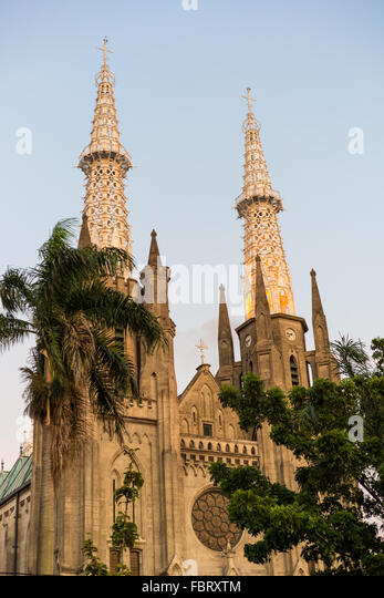 Roman Catholic Cathedral in the heart of Jakarta, Indonesia - Stock-Bilder