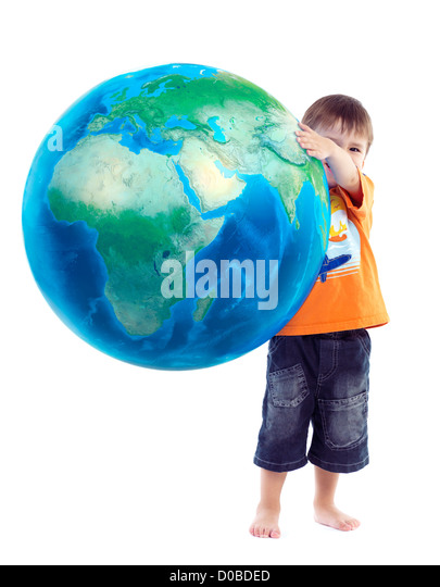 Cute little boy holding world globe, blue planet Earth in his hands, conceptual photo isolated on white background. - Stock Image