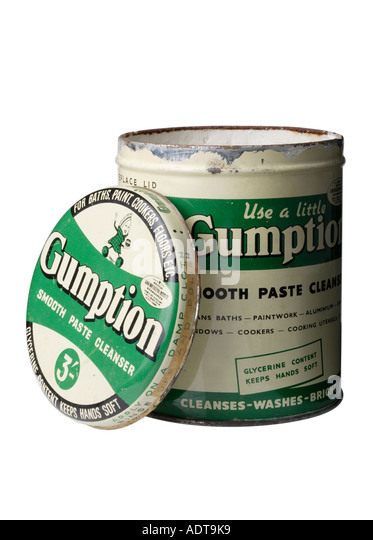 Old tin of 1950's Gumption smooth Paste cleanser - Stock Image