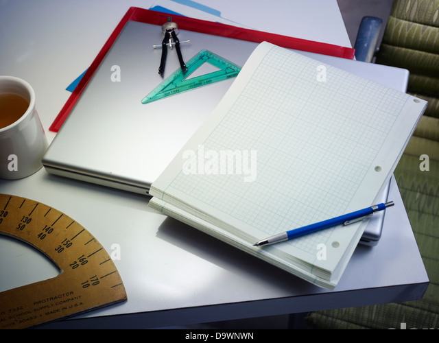 architect desk top - Stock Image