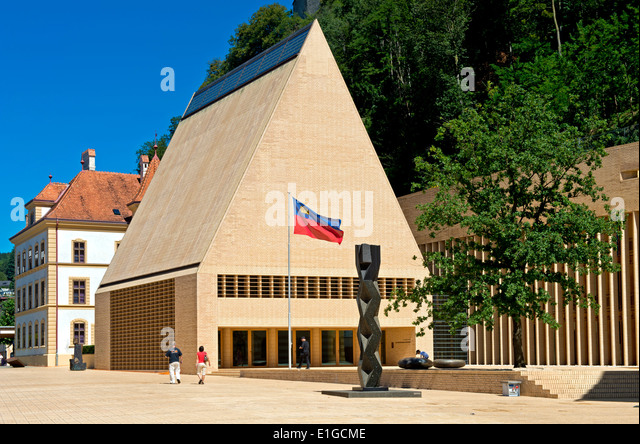 The House of Parliament building in Vaduz, Principality of Liechtenstein, Europe - Stock Image