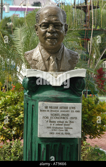 Castries St Lucia sir william arthur lewis statue nobel prize economics 1979 st lucian born Saint Lucia - Stock Image