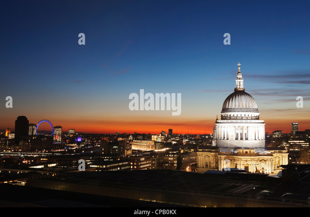 St Paul's Cathedral and London city at dusk: London: England - Stock Image