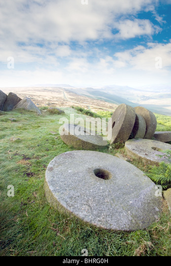 View, looking north from Stanage Edge, Derbysire Peak District - Stock Image