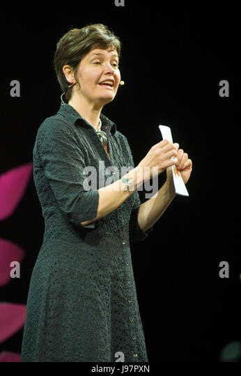 Economist Kate Raworth author of Doughnut Economics speaking on stage at Hay Festival 2017 Hay-on-Wye Powys Wales - Stock Image
