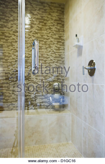 tiling floors in bathrooms shower door stock photos amp shower door stock images alamy 20966