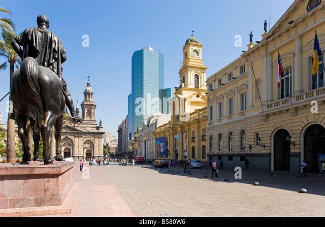 Statue of Don Pedro de Valdivia, Santiago, Chile - Stock Image