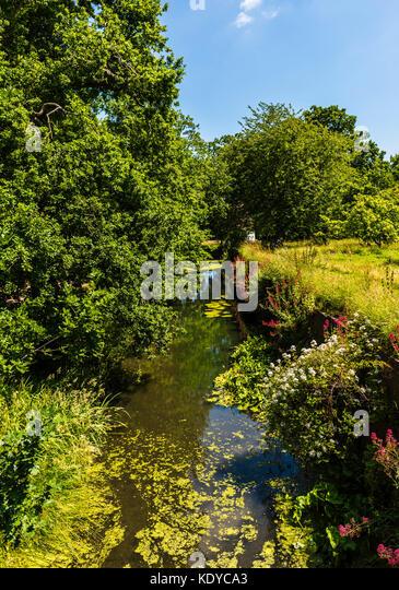 Tranquil stream at Sissinghurst Gardens, Kent, UK - Stock Image