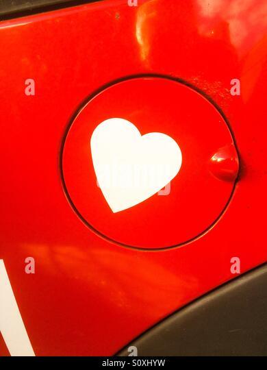 Heart on fuel cap - Stock Image