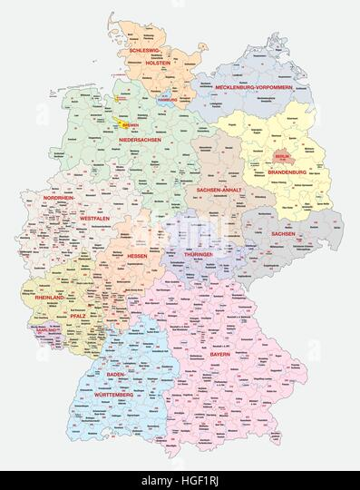 Map of the constituencies of the German federal election, 2017 - Stock Image