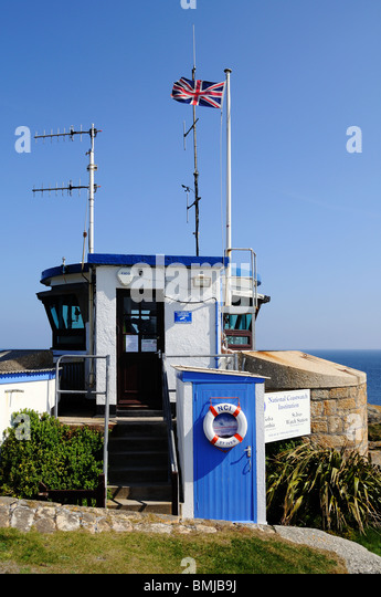 the national coastguard institute lookout post at st.ives in cornwall, uk - Stock Image
