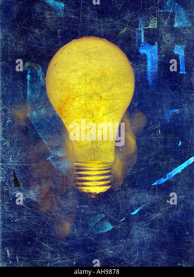 Illustration light bulb idea painting - Stock Image