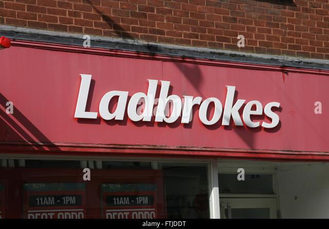 LADBROKES BOOKMAKER BOOKIE BET GAMBLING - Stock Image