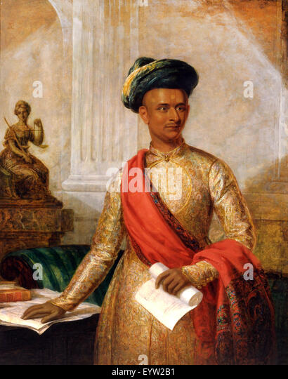 Thomas Hickey, Purniya, Chief Minister of Mysore. Circa 1801. Oil on canvas. Yale Center for British Art, New Haven, - Stock Image