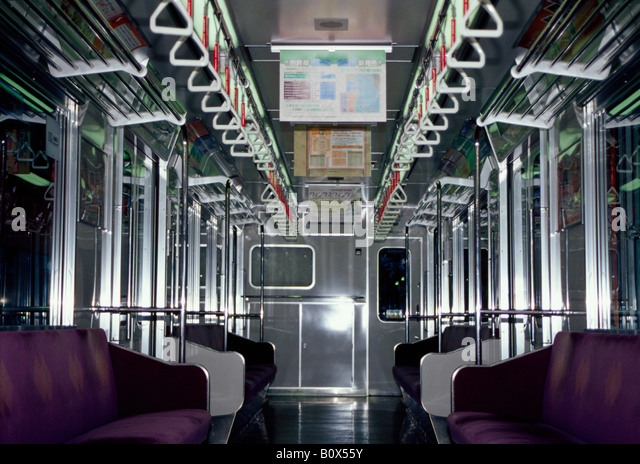 Interior of a subway car, Osaka, Japan - Stock Image