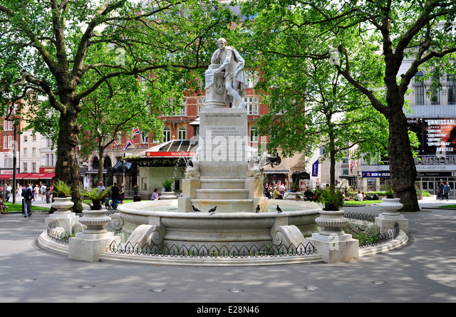 A general view of  Shakespeare statue in Leicester Square, London, UK. - Stock Image