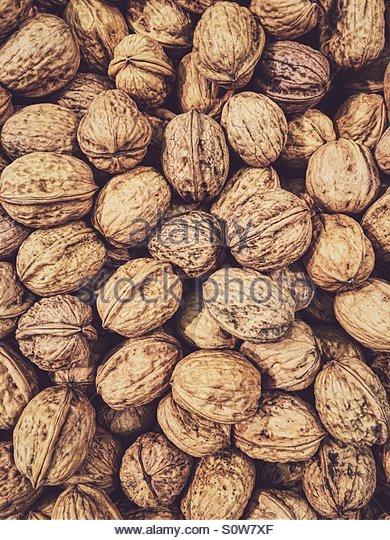 Walnuts in Shells - Stock Image
